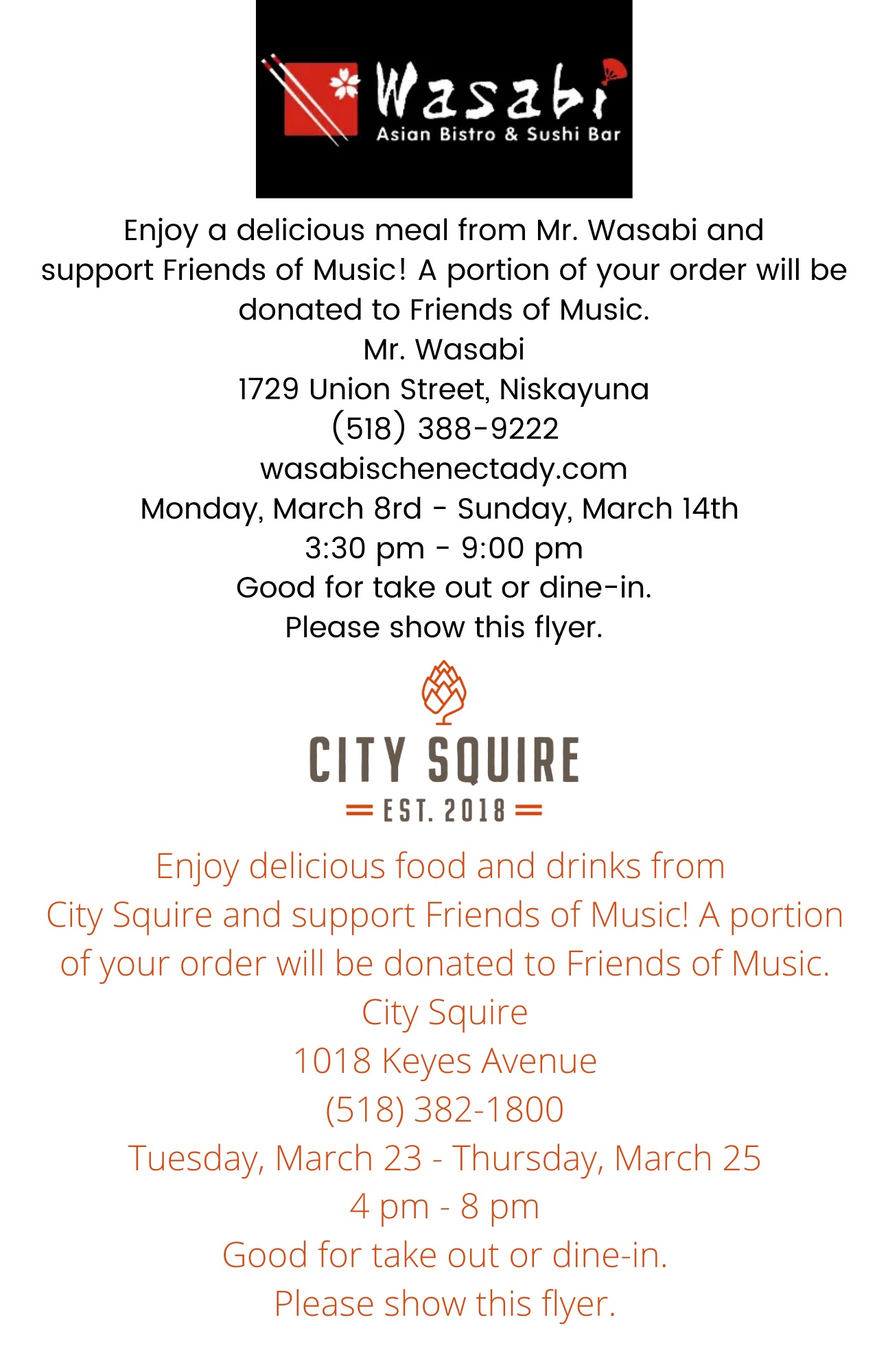 Flyer for Mr. Wasabi and City Squire