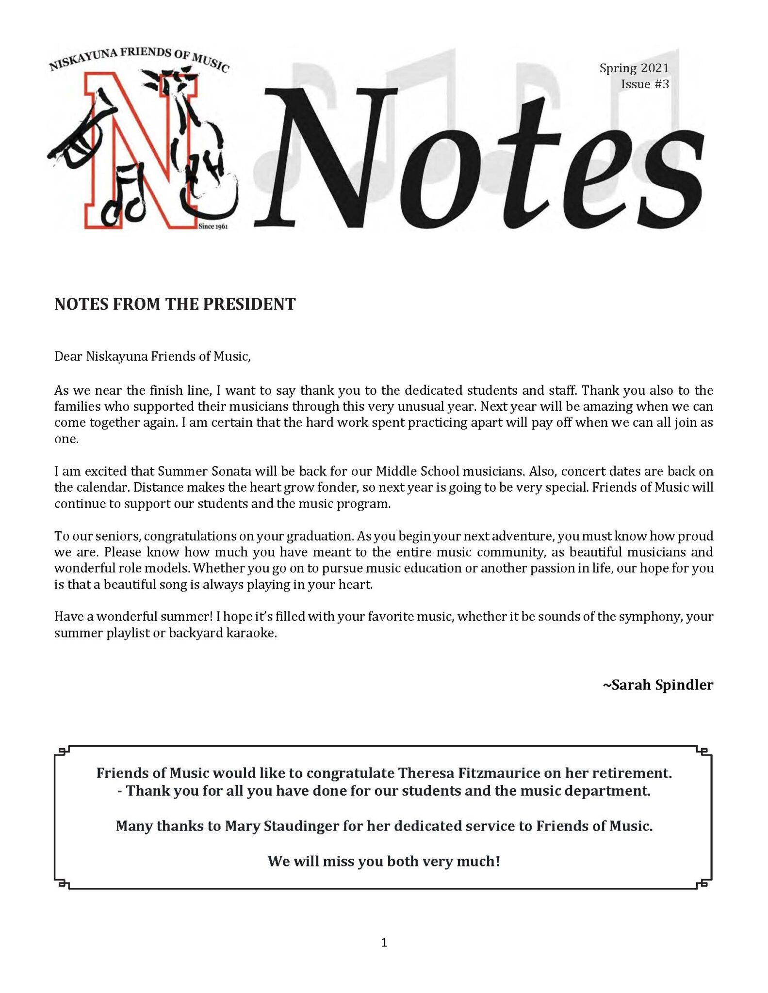 Niskayuna FOM Notes Spring 2021 first page